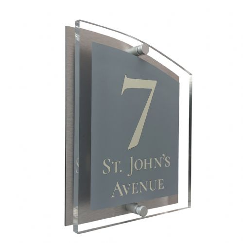 Arc Shape - Clear Acrylic House Sign - Mid Grey Colour with Double Cream text in Font  2